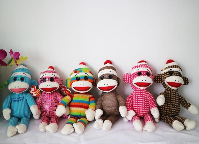 Us 375 Ty Beanie Babies Socks The Sock Monkey Pink Quilted Rainbow Stripes Sparkle 24cm Plush Doll Toys Collection Kids Christmas Gift In Movies