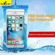 TRAVELSKY vízálló érintőképernyős tok Iphone 6s / 6Plushoz SamsungS5 / S6 OPPO R7 / R9 alkalmas 4.7 / 5.5 hüvelykes telefonhoz Ingyenes házhozszállítás