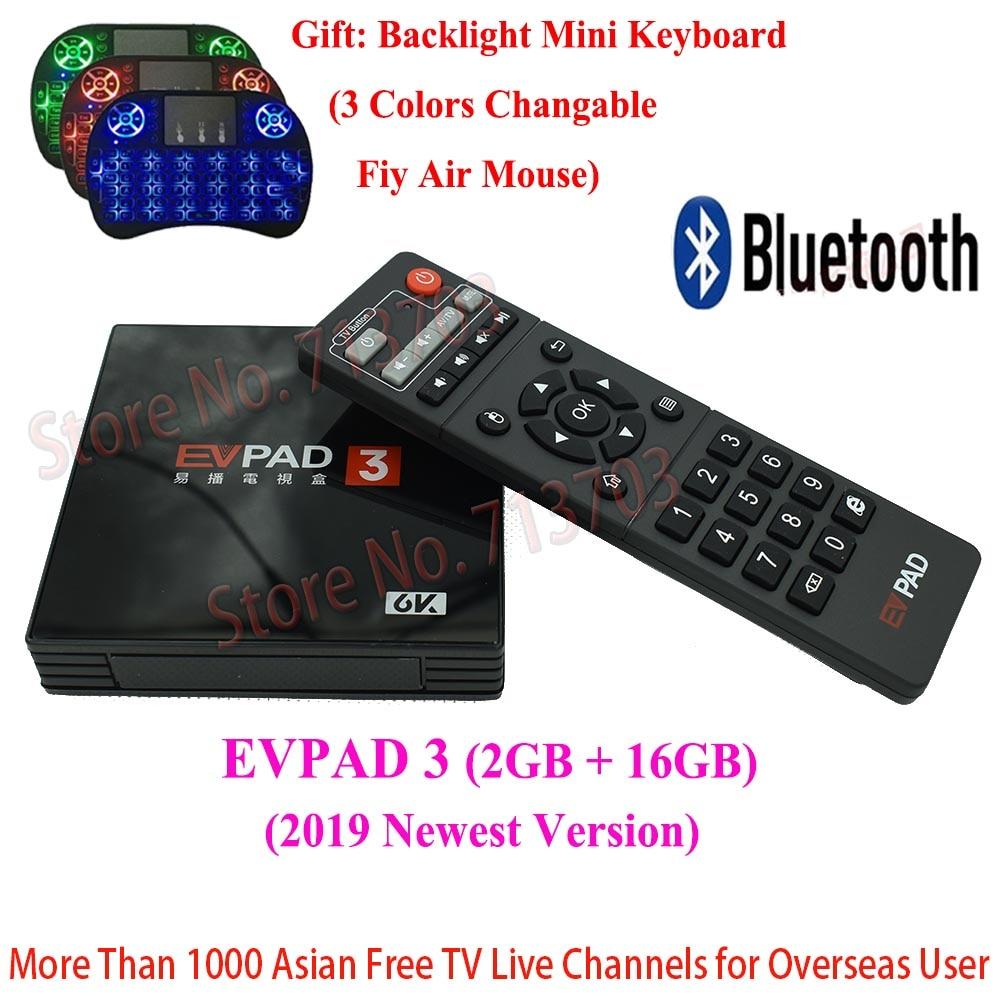 2019 IPTV EVPAD 3 2G 16G 4K Inteligente Caixa de TV Android Espanha Coreano Japonês HK Singapura Malásia taiwan Indonésia Canais de TELEVISÃO de Esportes