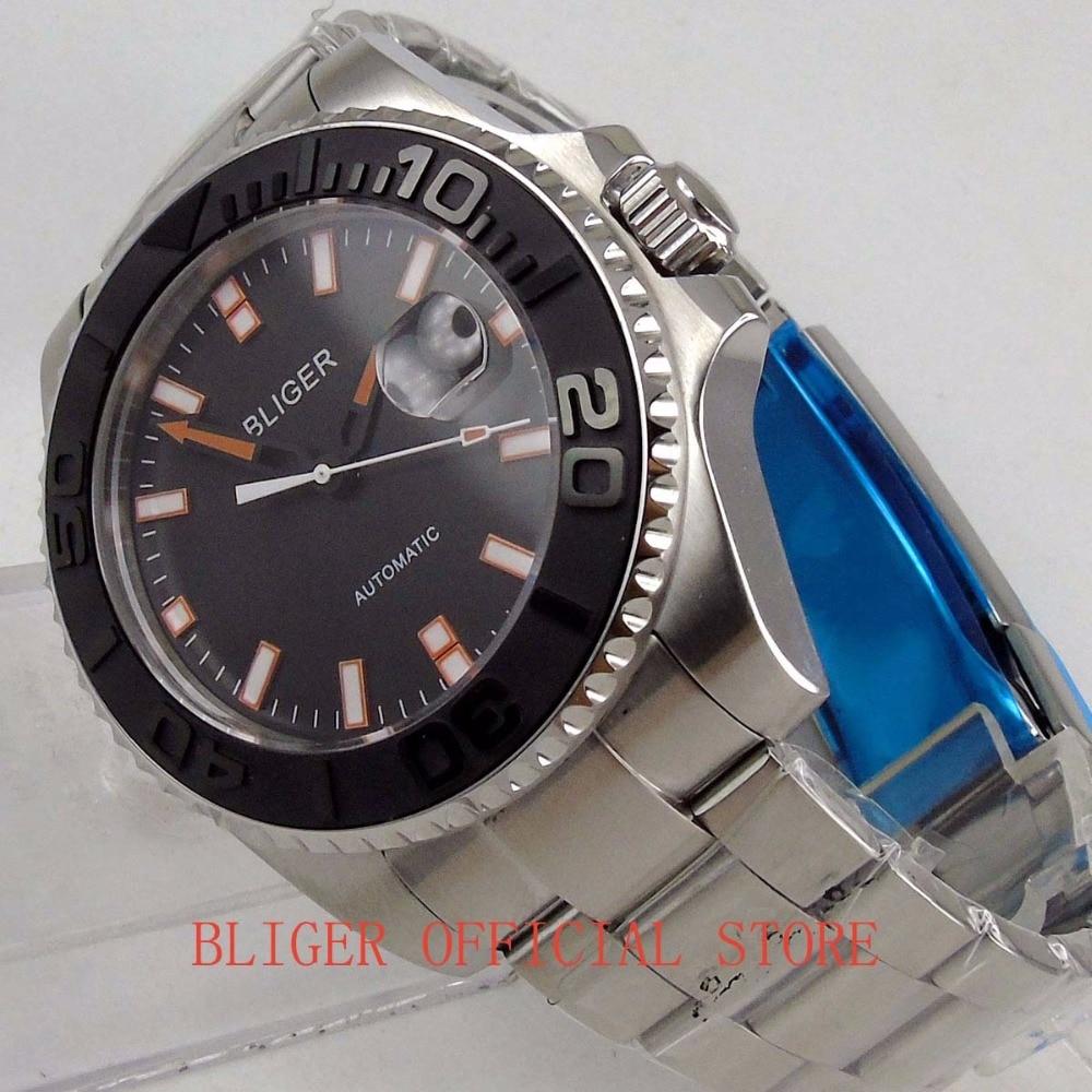 Nouveau 43mm montre pour hommes cadran noir lumineux Orange marques noir en céramique lunette miborough 8215 mouvement automatique montre-bracelet