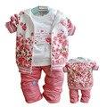 Осень девочка 3 шт. розы костюмы устанавливает таможенные случайные детский набор куртка с капюшоном с длинным рукавом футболки + брюки