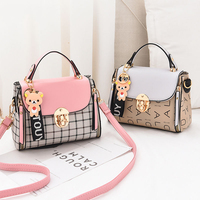 New Cute Type Ladies PU Handbag High Quality 2019 Hot Sale Small Girls Exquisite Color Matching Casual Fashion Small Square Bag Top-Handle Bags