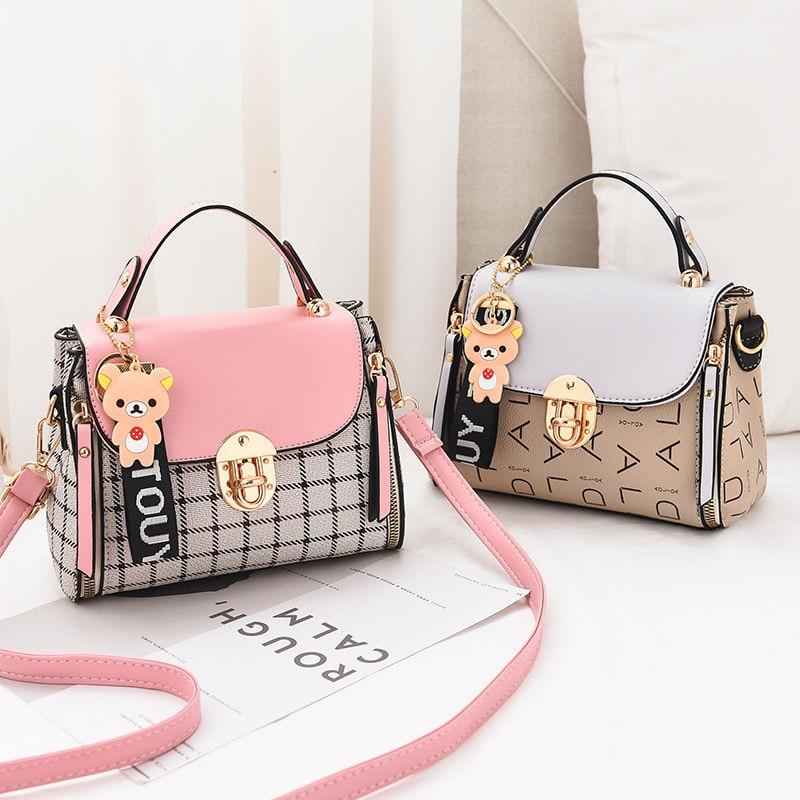 >New Cute Type Ladies PU Handbag High Quality <font><b>2019</b></font> Hot Sale Small <font><b>Girls</b></font> Exquisite Color Matching Casual Fashion Small Square Bag