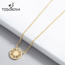Todorova Rose Gold Sun Pendant Necklace Vintage Bohemian Round Circle Charm Necklaces for Women Fashion Jewelry Wholesale todorova rose gold hollow flower pendant necklace geometric round circle necklaces for women gift new fashion jewelry