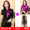 Autumn and winter new business wear skirt suits women 's suit fashion Slim skirt + shirt + suit three - piece-do826