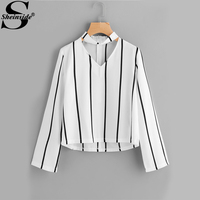 Sheinside V Cut Striped Zip Back Blouse For Ladies Autumn Long Sleeve Casual Top With Zipper