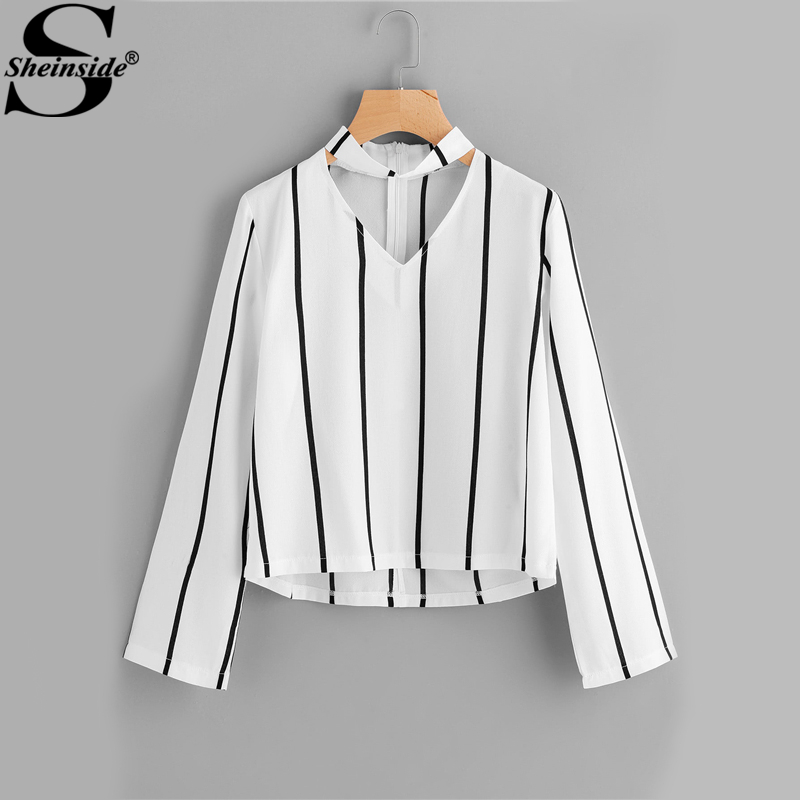 Sheinside Striped Blouse Women Shirts Blouses Autumn Crop Top Long Sleeve Cut Out V Neck With choker 2017 Office Ladies Blouse