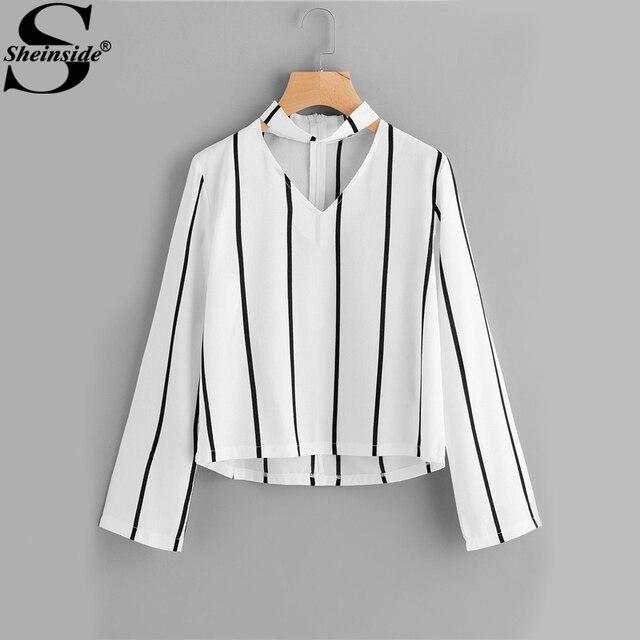 Sheinside полосатая блуза Для женщин рубашки блузки Растениеводство Топ с длинным рукавом Cut Out V шеи с колье летние женские офисные блузка