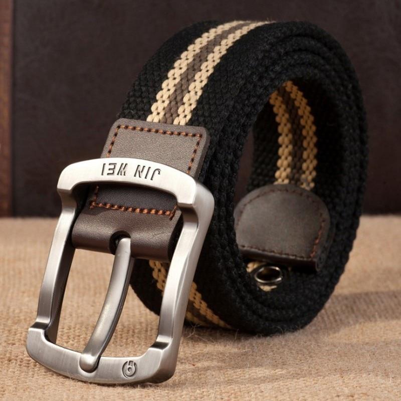 Военный ремень с пряжкой для спорта на открытом воздухе, тактический ремень для мужчин и женщин, высококачественные холщовые ремни для джинсов, мужские роскошные повседневные ремни - Цвет: Black strips