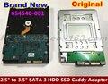 "1 UNIDS/LOTE 2.5 ""para 3.5"" 654540-001 sas hot-swap hdd ssd de disco duro adaptador del carrito del portador para hp proliant microserver g7 server g8"