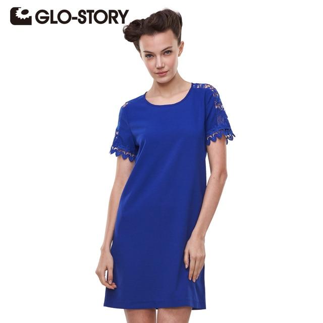 Glo-этажный Для женщин Платья для женщин 2017 модное одноцветное Кружево короткий рукав летнее платье Синий трапециевидной формы элегантные офисные Femme платье wyq-1789