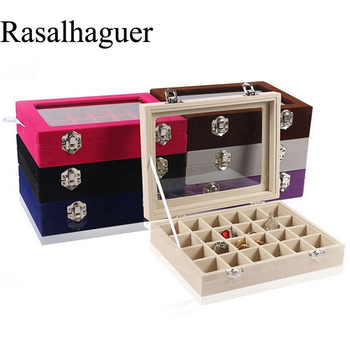 Hot Sale Various Color Options 24 Grids Ring Box Rings Earrings Necklaces Pendants Bracelets Makeup Jewellery Organizer Storage 8 grids sunglasses jewellery box rings earrings necklace makeup holder case choker organizer women jewellery storage packaging