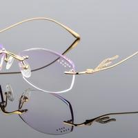 XINZE Fashion Eyeglasses Diamond Trimming Cutting Rimless Eyeglasses Prescription Optical Glasses Frame for Women Eyewear T1081