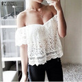 Summer Fashion 2016 WomensOff Shoulder Slash Neck  Lace Shirts Short Sleeve Blouses Sexy White Blusas Femininos Plus Size