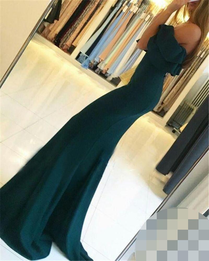 2019 Elegant Backless Split Evening Dresses robe de soiree Off Shoulder Mermaid Side Slit Evening Prom Gowns Cheap evening Dress