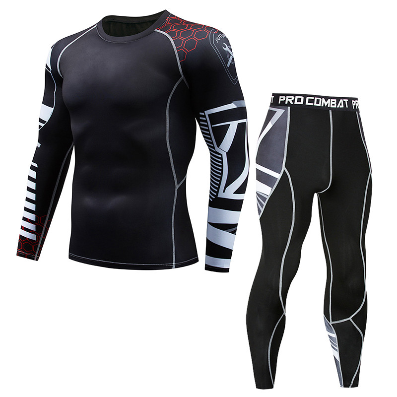 Quick-drying Men's Fitness Sports Running Suit Compression T-shirt + Tights Long-sleeved Fitness Rashguard MMA Training Clothes
