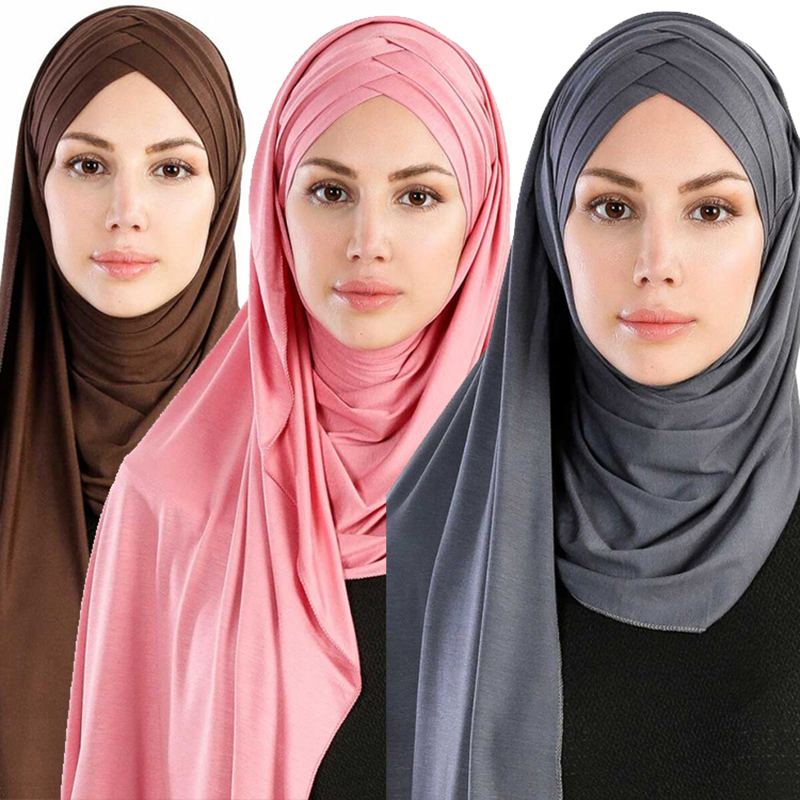 2019 New Women Jersey Scarf Soft Plain Cotton Instant Hijab Shawls And Wraps Foulard Femme Muslim Hijabs Ready To Wear Headscarf