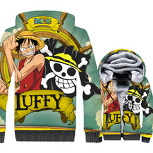 wool liner jacket 3D Print hoodies 2018 winter men thick rib sleeve Anime one piece coats streetwear hip-hop brand tracksuits pp