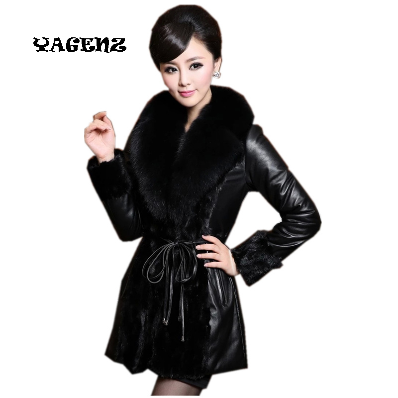 4XL Leather Jacket Women female outerwear medium-long fur overcoat Leather Jacket Thick Faux Fox Fur Collar Jaqueta Couro