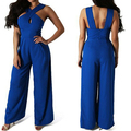 Women Summer Sexy V Neck Sleeveless Cutout Back Bandage Jumpsuit Romper Overall