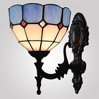1 Light,6 Inches Stained Glass Tiffany Vintage Lamp Wall LED Light For Home Lighting Arandela Lampara Pared,E27,Bulb Included tiffany baroque sunflower stained glass iron mermaid wall lamp indoor bedside lamps wall lights for home ac 110v 220v e27