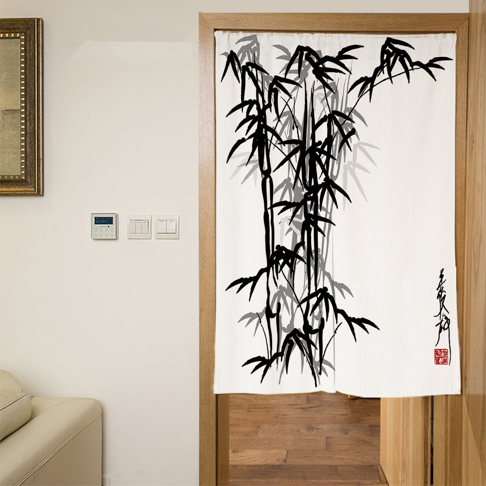 Bamboo Kitchen Curtains: Senisaihon Polyester Door Curtains Chinese Bamboo Ink