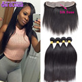 Silk Base Frontal With Bundles Peruvian Straight Hair With Closure Peruvian Virgin Human Hair With Closure 4Bundles With Closure