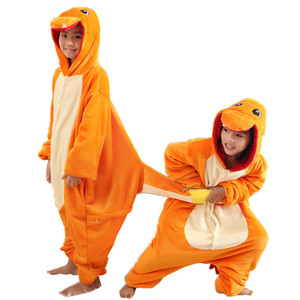 Children Costume Pokemon Charmander Onesies Pajamas Cosplay Kigurumi Costume Jumpsuit Hoodies Sleepwear for Halloween Carnival