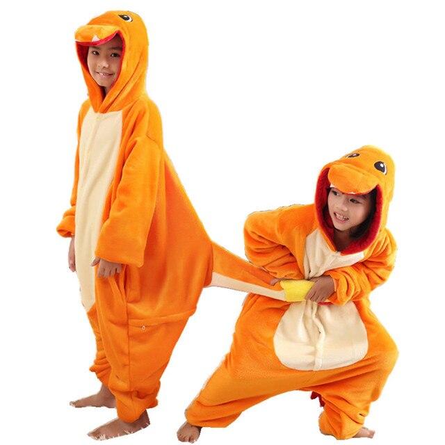 Crianças Pokemon Charmander Traje Onesies Cosplay Pijama Kigurumi Jumpsuit  Hoodies Pijamas Traje para o Carnaval de a99260bd4cd0f