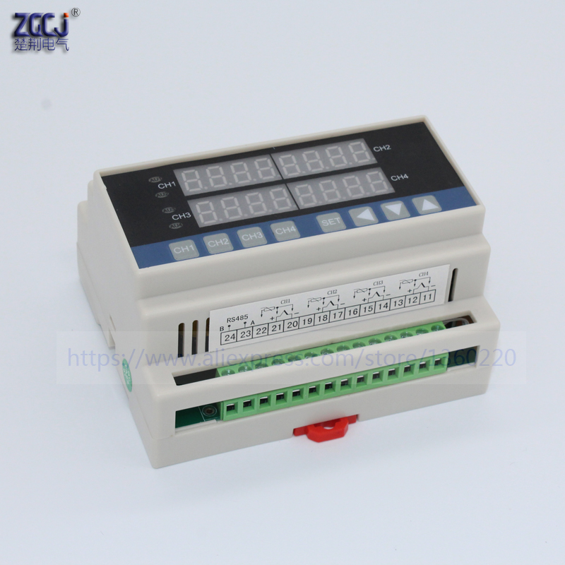 Din Type 4 Ways Temperature Controller Measure Multi Points 4 Channels Digital Thermostat Can Connect With 4 Sensors , RS485
