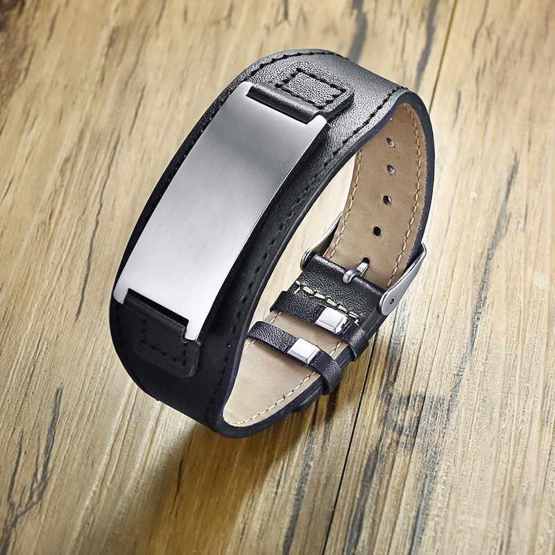 Vnox Бесплатная Настройка массивные ID браслеты для мужчин браслет из натуральной кожи из нержавеющей стали бар панк мужское украшение браслет