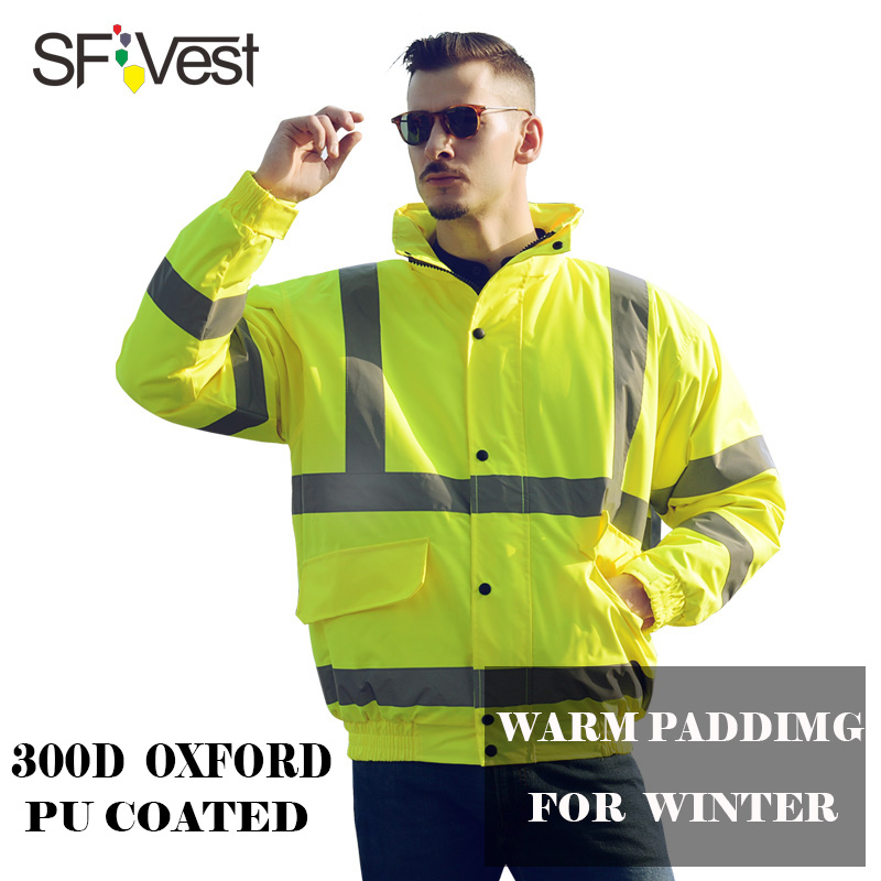 Fluorescent Yellow Reflective bomber jacket mens Safety Clothing High Visibility Thermal Padding jacket for men in Winter