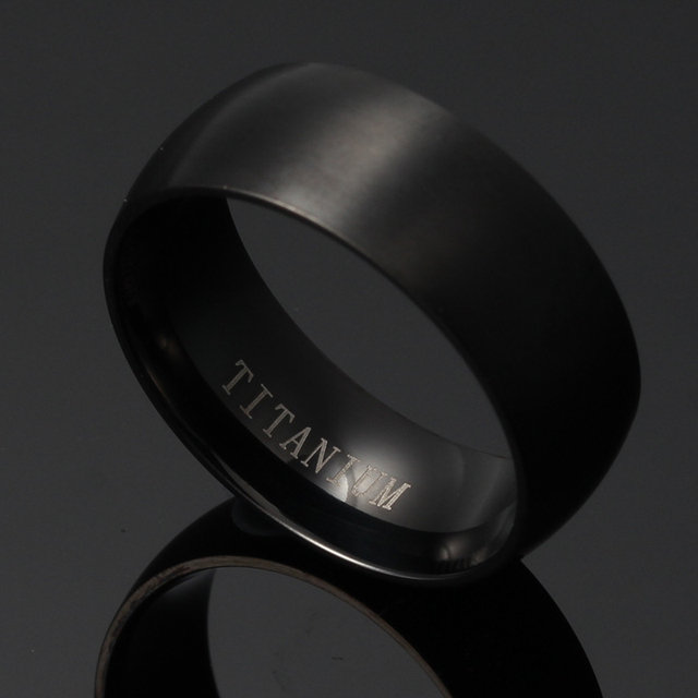 Black Rounded Titanium Ring With Smoothed Polished Inner Ring
