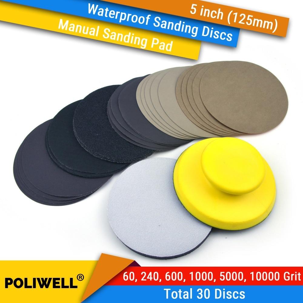 30PCS 5 Inch(125mm) Hook&Loop Waterproof Sanding Discs + Hand Sanding Pad + Soft Sponge Interface Pad Car Manual Polishing Kit