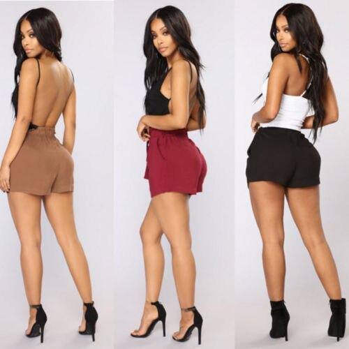 Women Hot Summer Casual Loose Shorts Bow Beach High Waist Shorts Ladies Solid Casual Bandage Shorts Female Clothing