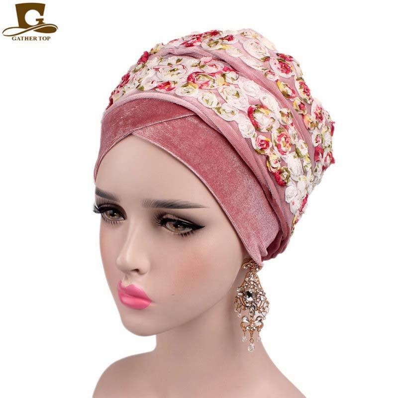 New Fashion Women 3D Rose Flower Nigerian Velvet Turban Extra Long Head Wrap Lady Headscarf Woman