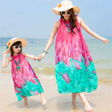 New 2016 Mother and Daughter Dress Matching Clothes Long Bohemia Summer Dresses Family Beach Dress Chiffon Girls Women Dress