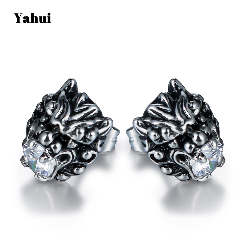 YaHui stainless steel lion head earrings crystal earrings for women men fashion woman earrings gifts for women accessories in Stud Earrings from Jewelry Accessories