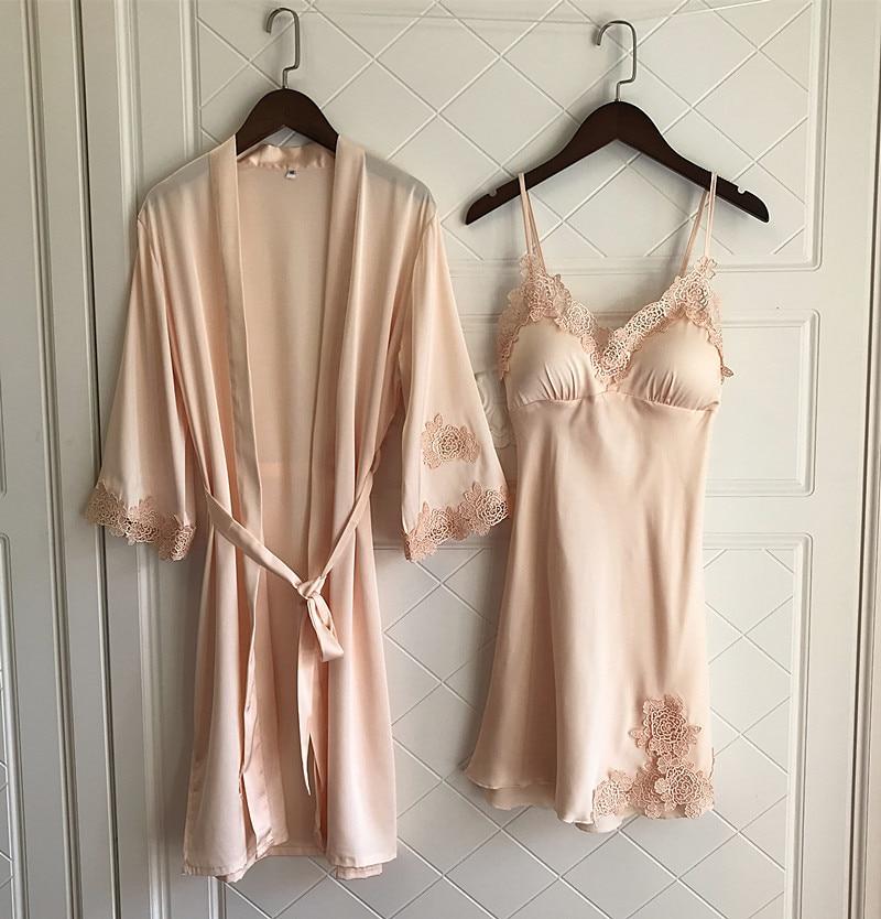 QWEEK Femme Robe Set With Chest Pads Sexy Lace Women Sleepwear Robe Sleep Lounge Autumn Ladies Nightwear Bathrobe Night Dress