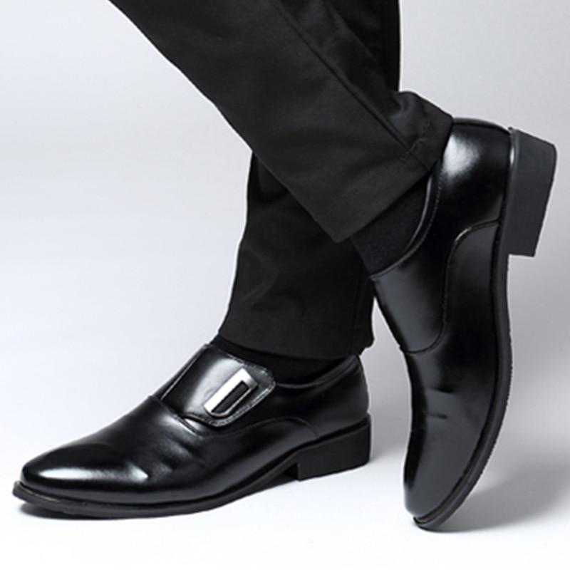 Verano de cuero de los hombres de Oxford plana clásico Formal zapatos de punta de negocios de zapatos negro marrón Hombre Plus tamaño 38 -47