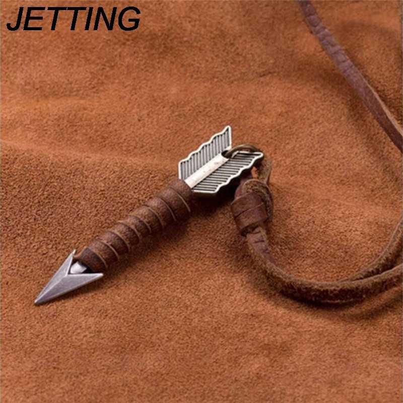 Modny Vintage wzór strzałki punkowa skórzana Choker ręcznie robiony naszyjnik wisiorek mężczyzn biżuteria