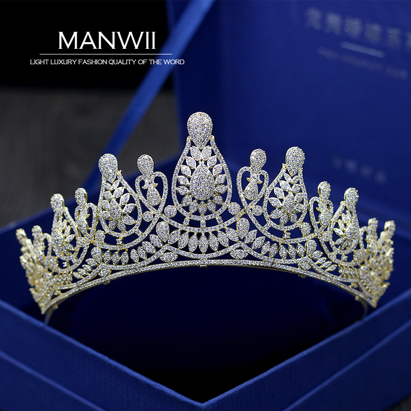 все цены на Fashion high-grade micro-inlaid gold full rhinestone bride crown hair accessories wedding accessories women T022
