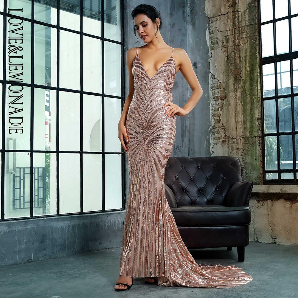 f5820e1f6b7 ... Любовь и лимонад золото Глубокий V образным вырезом открытой спиной  Геометрия блёстки длинное платье LM1351 ...