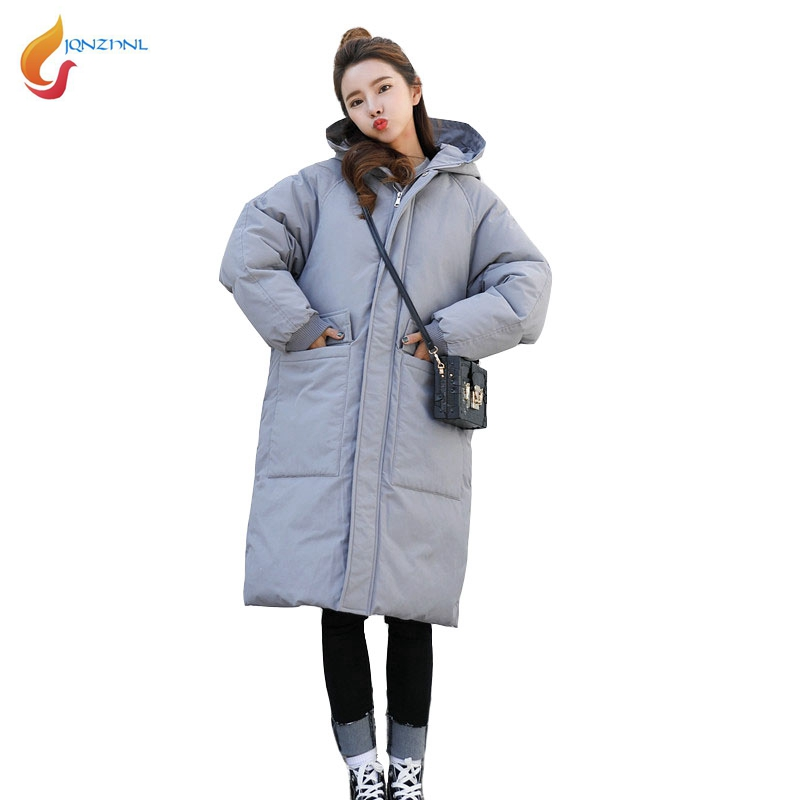 JQNZHNL 2017 Fashion Women Solid Color Hooded Loose Cotton-padded Jacket Down Parkas Winter Medium Long Pockets Cotton Coats C61 top quality fashion parent child 90% white duck down jacket medium long mother and son hooded cotton padded down family coats