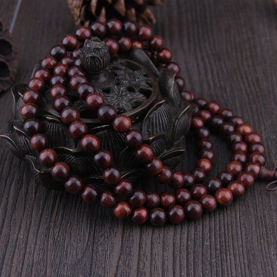 8mm Natural Indonesia Red Sandalwood Beads 108 Mala Loose Spacer Suanzhi Bead ,Meditation Prayer Japa Buddha Jewellery Finding