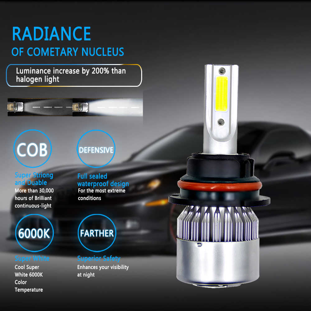1X H4 LED H7 LED 6000K H11 LED H1 H3 H13 880 9004 9005 9006 9007 LED הנורה רכב פנס אוטומטי ערפל אור עבור רכב 12V