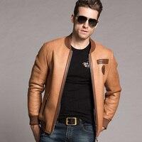 Men's Shearling Baseball Jacket Short Leather Jacket Mans Sheepskin Aviator Fur Coat Lambs Fur Outerwear Flight Casual Jacket