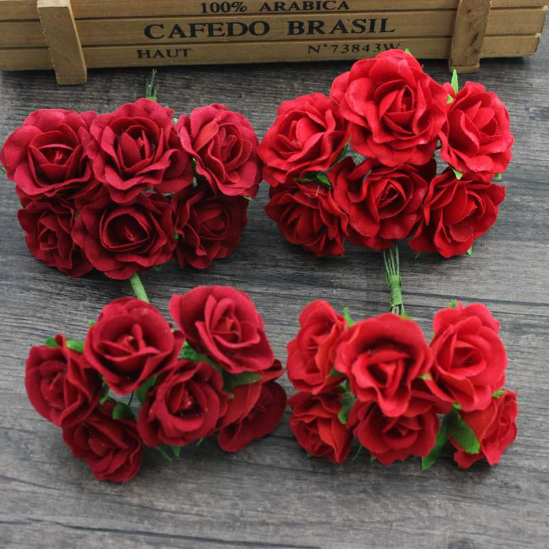 6 pcs 4cm Red Rose Flower Artificial Silk Flower Bouquet for Wedding DIY Scrapbooking Decoration Handmade Flower Garlands in Artificial Dried Flowers from Home Garden
