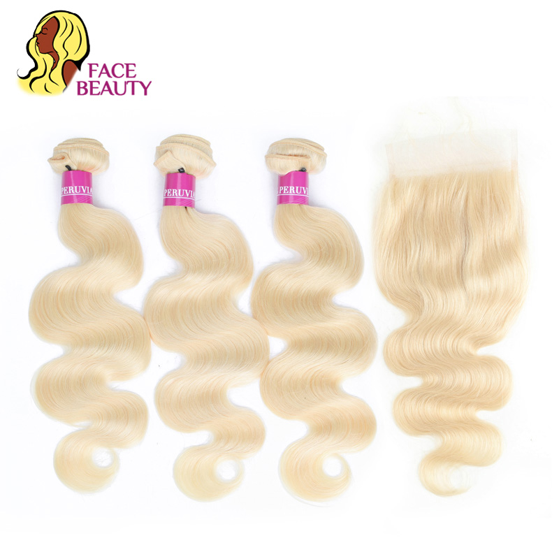 Facebeauty 613 Russian Blonde Malaysian Hair Bundle Deals with Closure 4x4 Remy Hair Body Wave Swiss