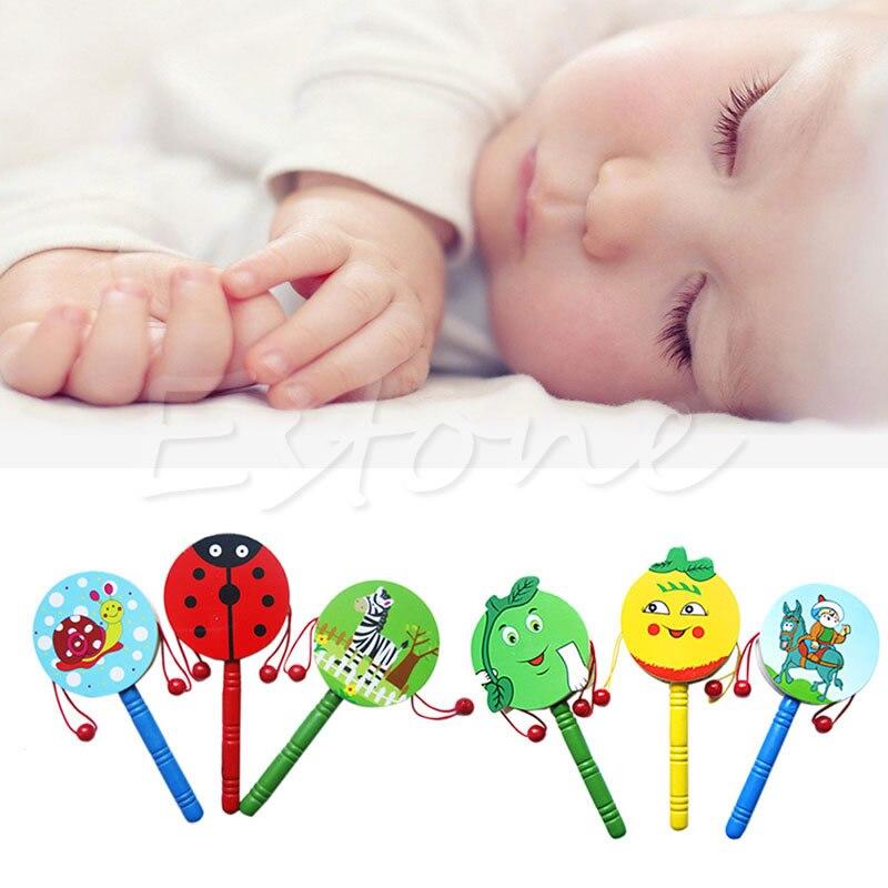 1 Stück Schöne Kinder Holz Spielzeug Musical Hand Glocke Rassel Trommel Entwicklungs Spielzeug Geschenke Schrumpffrei